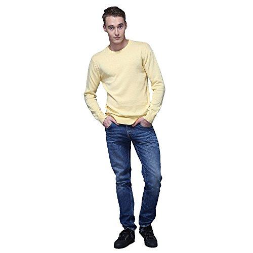 FASHIONMIA Mens Casual Solid Slim Fit Sweater Pullover Yellow M by FASHIONMIA (Image #4)