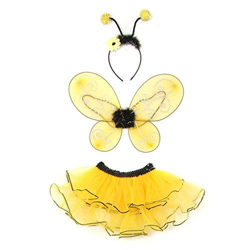 [Little Girls Yellow Bumble Bee Wings Headband Tutu 3 Pcs Halloween 3 Pc Set 1-4T] (Bee Wings Halloween Costume)