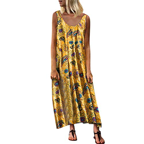 Women's O-Neck Sleeveless Summer Asymmetrical Hem Beach Dress Retro Floral Maxi Dress (Theory Striped Sweater)