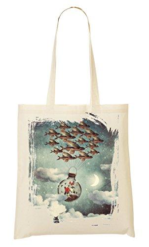 Flying Fish Roses Psychedelic Bolso De Mano Bolsa De La Compra