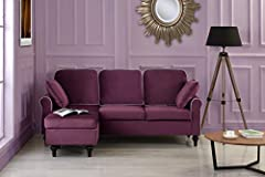 Divano Roma Furniture Presents this small space configurable reversible chaise lounge. Soft velvet upholstery on hardwood frame with overstuffed back cushions and memory foam seat cushion.