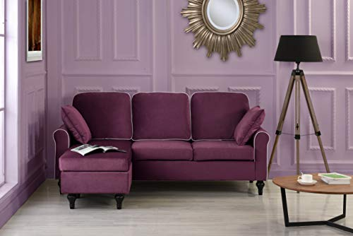Madison Home Traditional Small Space Velvet Sectional Sofa with Reversible Chaise Purple