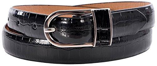 Sunny Belt Women's Faux Leather Snakeskin Pattern Fashion Belt Black Large