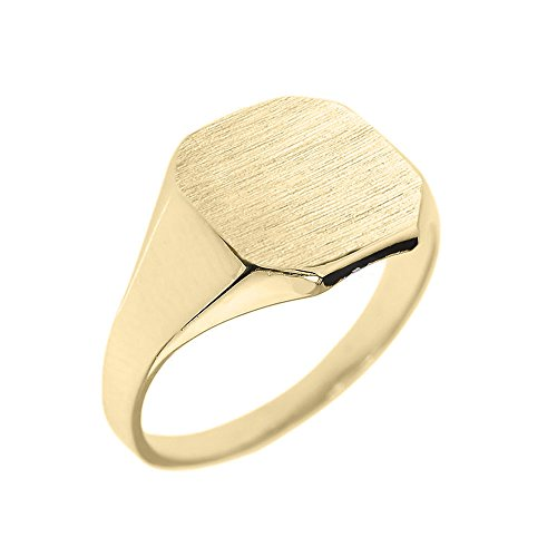 Men's 10k Yellow Gold Engravable Cut Corner Square Octagonal Top Narrow Band Signet Ring (Size 9) ()