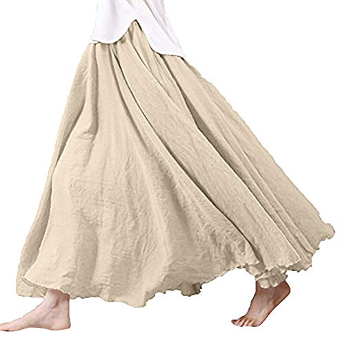 (Clearance!! Women Long Bohemian Skirt Elastic Cotton Linen Waist Band Hippie Beach Full Length Pleated Maxi Skirts Dress (Khaki, Medium))