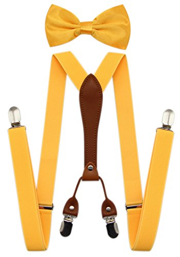 JAIFEI Suspenders & Bowtie Set- Men's Elastic X Band Suspenders + Bowtie For Wedding, Formal Events (Yellow) (Bow X-long Tie Band)