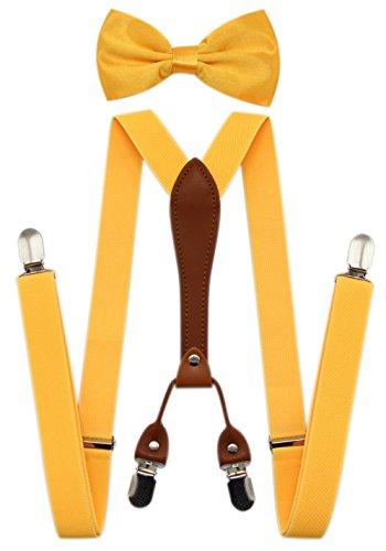 1950s Mens Hats - JAIFEI Suspenders & Bowtie Set- Men's Elastic X Band Suspenders + Bowtie For Wedding, Formal Events (Yellow)