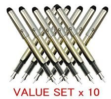 Pilot V Pen (Varsity) Disposable Fountain Pens, Black Ink, Small Point Value Set of 10 by Pilot