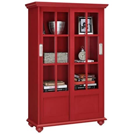 Office Bookcase In Red Color Bookcase With 2 Sliding Glass Doors And 3 Shelves For Extra Space Saving Office Cabinet Office Modern Bookcase Bundle With Expert Guide Quality In Our Life