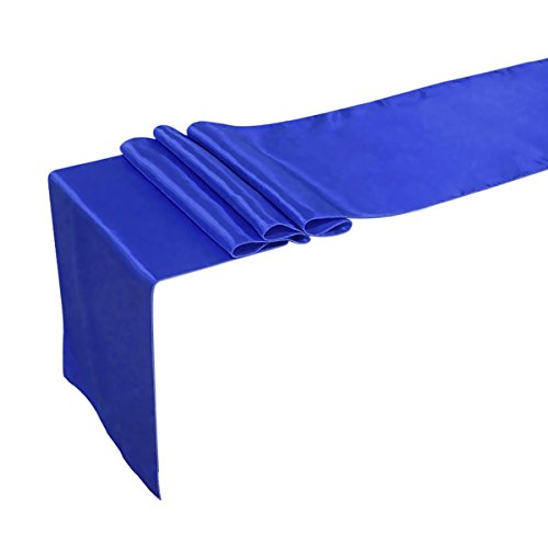 Ling's moment 12 x 108 Inch Satin Royal Blue & Dark Blue, Pack of 5 For Wedding Banquet Decorations, Bridal Shower, Christmas, Birthday, Graduation, Prom, Party Table (Royal Blue And Yellow Centerpieces)