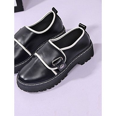 Round Black Boots PU Women's Booties CN36 RTRY US6 Toe Fall EU36 UK4 White Comfort Rivet Heel Casual Boots Shoes Chunky For Heel Flat Ankle vSCxwq