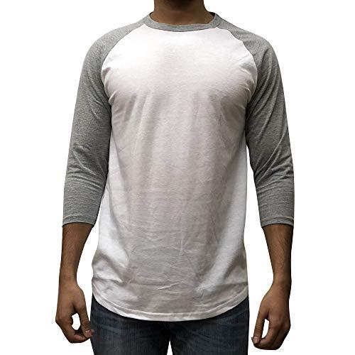 Ribbed Baseball Tee - KANGORA Men's Plain Raglan Baseball Tee T-Shirt Unisex 3/4 Sleeve Casual Athletic Performance Jersey Shirt (24+ Colors) (White Gray, XX-Large)
