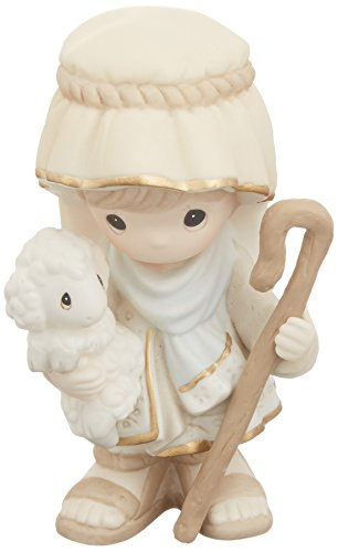 Precious Moments 159029 Come Let Us Adore Him-Nativity Shepherd Bisque Porcelain Figurine