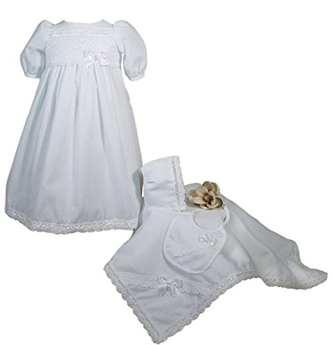 Little Things Mean A Lot 100% Cotton Girls Preemie Dress Christening Gown Baptism Set with Lace Hem -