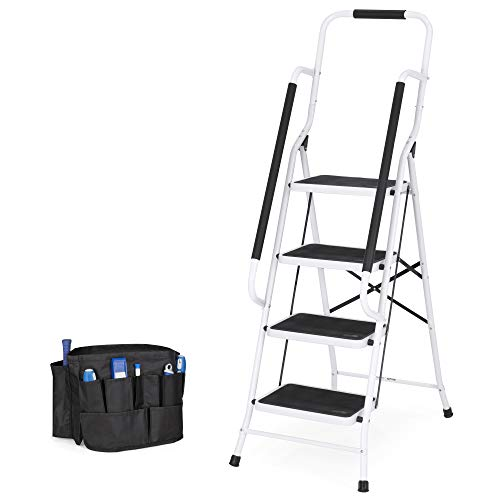 Best Choice Products 4-Step Folding Ladder with Padded Handrails, Attachable Tool Bag