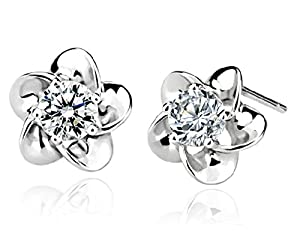 Luxury CZ Earrings Zircon Blossom Stud Earring 925 Sterling Silver