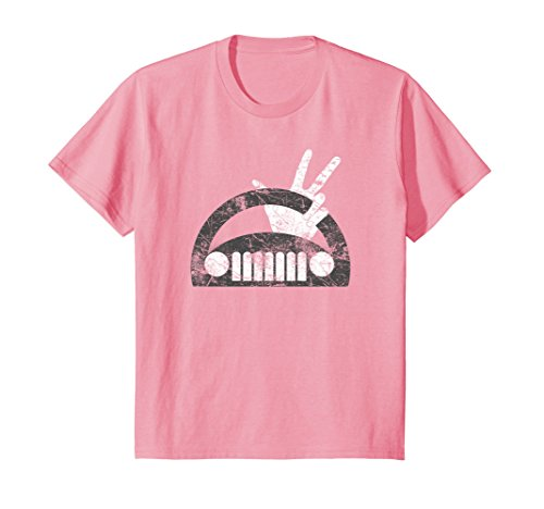 Kids The Jeep Wave You Get It or You Don't Distressed T-Shirt 12 Pink