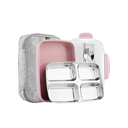 Slim Stainless Steel Square Lunch Box Set - Insulated Leak Proof Lunch Box for Adults and Kids, Non-toxic Tasteless safety, With Insulated Bag And Cutlery - Dishwasher Microwave Safe (Pink)