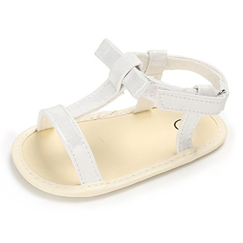 BENHERO Infant Baby Girls Bowknot Open Toe Sandals Soft Sole Toddler Summer Shoes(13cm(14-24 Months),A-White)