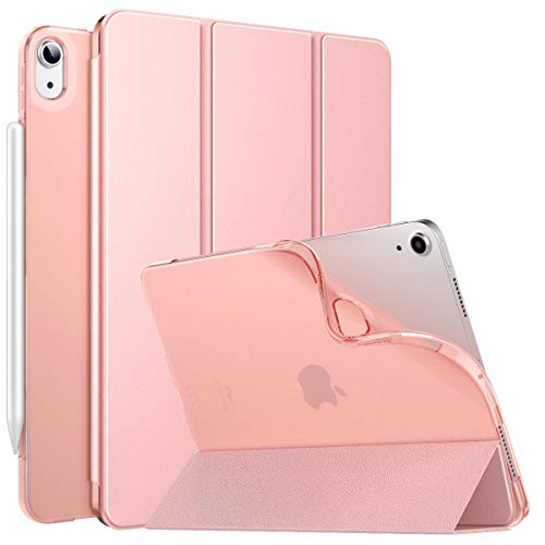 """MoKo Case Fit New iPad Air 4, iPad Air 4th Generation Case 2020 10.9"""", Smart Trifold Stand Slim Folio Case Soft TPU Frosted Translucent Back Cover Fit iPad Air 4 2020,Auto Wake/Sleep, Rose Gold"""