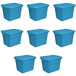 STERILITE 17314308 18 gallon/68 Liter Tote, Blue Aquarium, 8-Pack