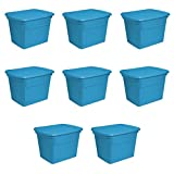 Sterilite 17314308 18 gallon/68 Liter Tote, Blue Aquarium, 8-Pack