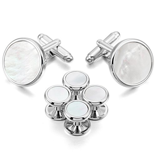 MOWOM White Silver Rhodium Plated Mother Of Pearl Abalone Shell Cufflinks Round Stud Set Tuxedo