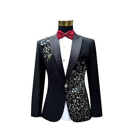 Cloudstyle Mens Peak Lapel One-Button Wedding Party Blazer Jacket and Pants, Medium, Black 1 by Cloudstyle