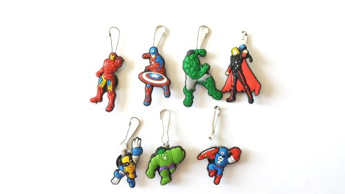 Avengers Costume Falcon 2 (AVIRGO 7 pcs Zipper Pull Charms for Jacket Backpack Bag Pendant Set #)