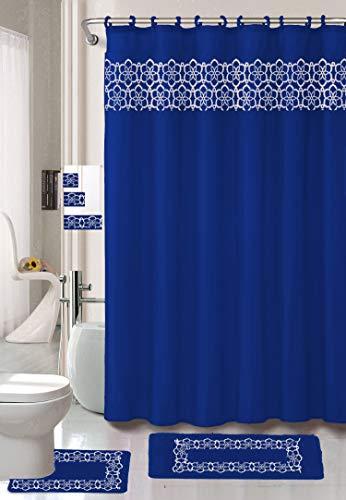 18 Piece Elegant Bathroom Set: 2-Rugs/Mats (1-Contour Rug, 1-Bath Mat) Poly Acrylic Pile Rubber Backing, 1-Fabric Shower Curtain, 12-Fabric Covered Rings, 3-Piece Decorative Towel Set (Royal Blue)