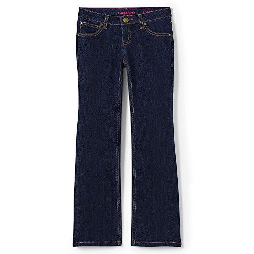 Lands' End School Uniform Girls 5 Pocket Bootcut Jeans, 8, Dark Blue (Lands End School Uniforms)