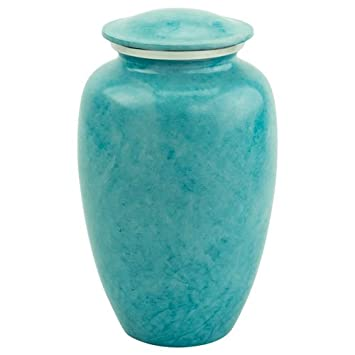 Silverlight Urns Caribbean Harbor Cremation Urn, Adult Sized Blue Urn for Human Ashes, Aluminum, 10.25 Inches Tall