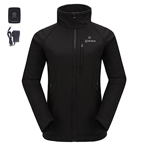 ORORO Women's Slim-Fit Wireless Heated Jacket Kit with Battery& Charger (Medium, Black) (Heated Jacket)