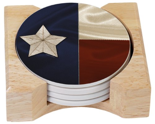 CounterArt Texas Flag Design Absorbent Coasters in Wooden Holder, Set of 4