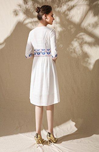 Cotylédons Women`s Robes De Broderie Moitié Robe D'été À Encolure Dégagée Manches Blanc