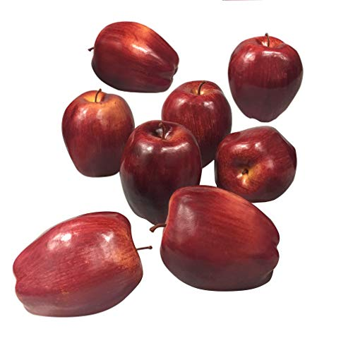 COTOSEY 8pcs Fake Fruit House Kitchen Party Decoration Video Props Children Toys Artificial Lifelike Simulation Red Apples (8pcs Red Delicious Apples)