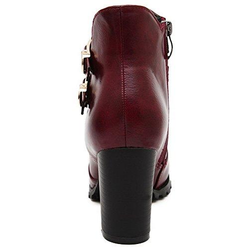 VogueZone009 Damen Schließen Zehe Blend-Materialien Niedrig-Spitze Hoher Absatz Stiefel Weinrot