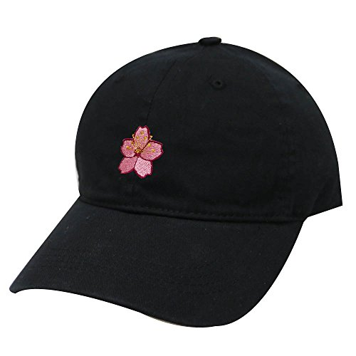 City Hunter C104 Cherry Blossom Cotton Baseball Cap 19 Colors (Black) Blossom Cap