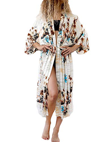 (Ailunsnika Rayon Geometric Print 3/4 Sleeve Long Beachwear Kimono Open Front Side Slit Drawstring Waist Cover Up)