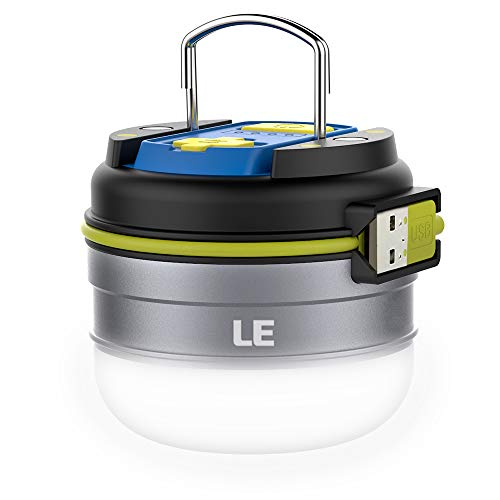 Rechargeable LED Camping Lantern, 280LM, 3 Light Modes, 3000mAh Power Bank, Waterproof, Perfect Small lantern flashlight with Magnetic Base for Hurricane Emergency, Outdoor, Hiking, Home and Car by LE