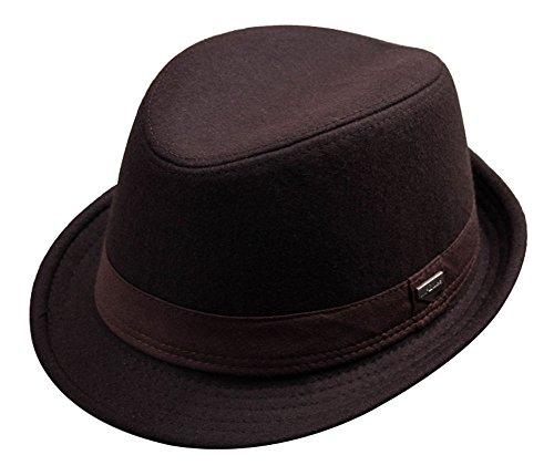Unisex Classic Felt Fedora Hat Short Brim Jazz Cap with Band Brown