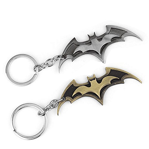 wotoy Set of 2 Personality Alloy Keyrings Bat Shape Keychains