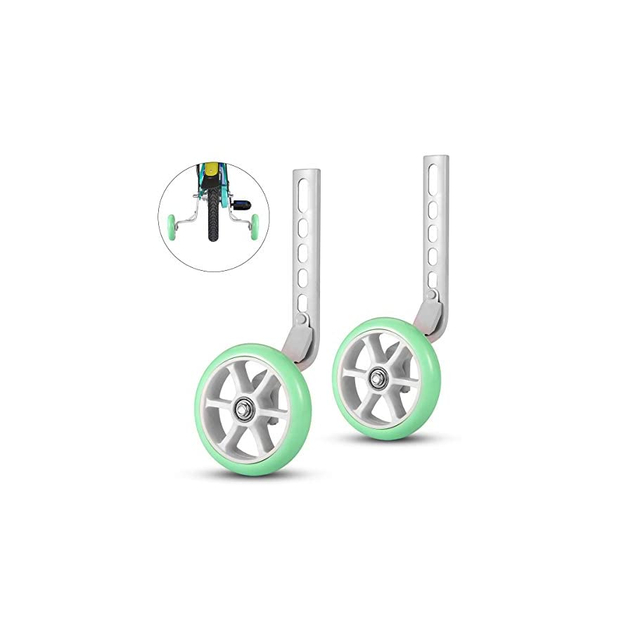 ZOSEN Bicycle Training Wheels Bike Stabilizer Kid's Bike Novice Riding Essential Accessory Support Wheels for 12 14 16 18 20 Inch Bicycle (Mint Green, 1 Pair)