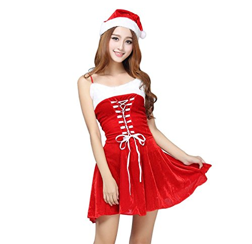 LoveSex Women's Sexy Christmas Belle Drsss with Accessories Adult (Santa Costumes For Rent)