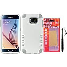 Galaxy S6 Case [Hybrid Series] Kaede® Cover [Screen Guard] Protector Diamond Stylus Pen for Samsung Galaxy S6 (White/Grey)