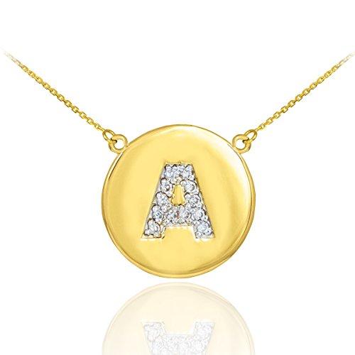 """Petits Merveilles D'amour - 14 ct Or 585/1000 de la lettre initiale """"A"""" Collier disque diamant initiale"""