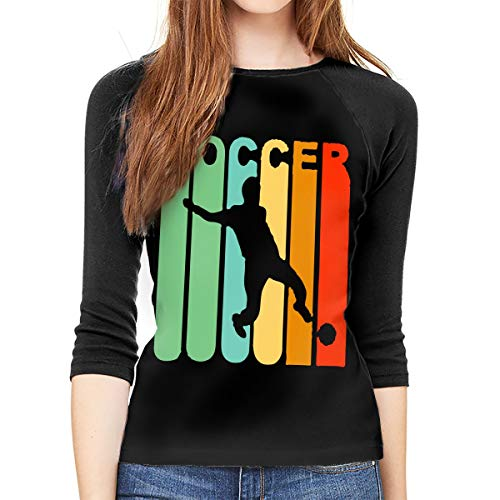 - 3M9G8Y&0 Womens 3/4 Sleeve Tee Shirts Soccer Retro 1970's Style Raglan Baseball T-Shirts Black