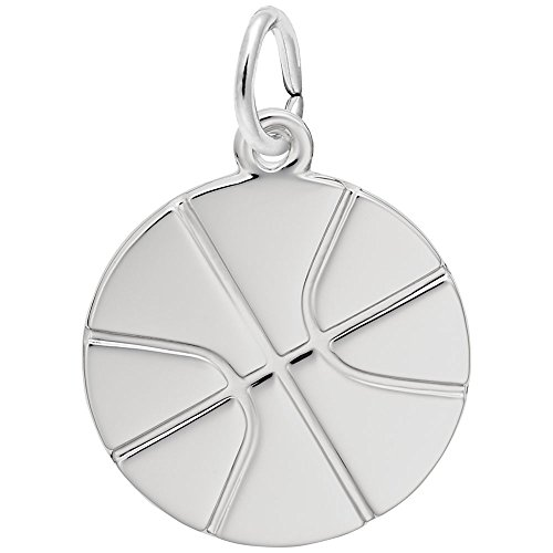 Rembrandt Charms, Basketball, 14k White Gold, Engravable 14k White Gold Basketball Charm