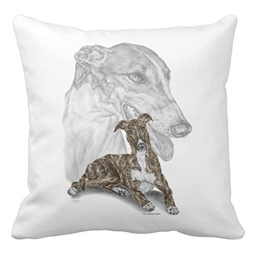 Sinluen Brindle Greyhound Dog Art Nursery Throw Pillow Cover for Girls Dorm Room Decor Square Canvas Cushion Cover with Zipper 18 x 18