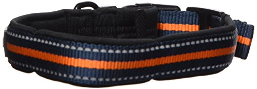 "Blueberry Pet Collars For Dog Classic Solid 3/4"" Medium Neoprene Padded Orange Striped Dog Collar"